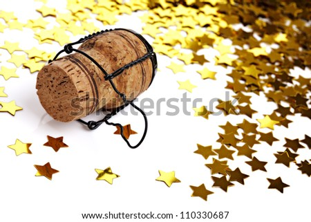 New years eve, wedding, engagement, Christmas party - confetti and champagne cork