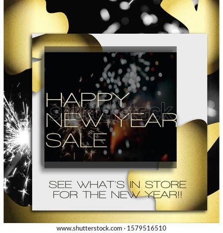New Years promotional image for Social Media Campaign for E Commerce shops, local stores and shops. Sized specifically for Facebook and Instagram ad campaigns. Works great in newsletters and google to