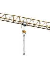 new yellow crane arm with metal cables and crane hooks . robust industrial jib concept isolated over white