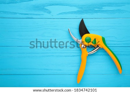 New yellow gardening secateurs on a blue wooden background. Top view. Stock photo ©