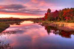 New York-Adirondacks-fall-leaf change-sunset-reflection=great picture