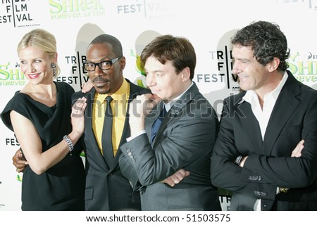 NEW YORK - APRIL 21: Actors Antonio Banderas, Mike, Myers, Eddie Murphy, Cameron Diaz at Tribeca Shrek Forever After premier at Ziegfeld Theater on April 21, 2010 in New York City.