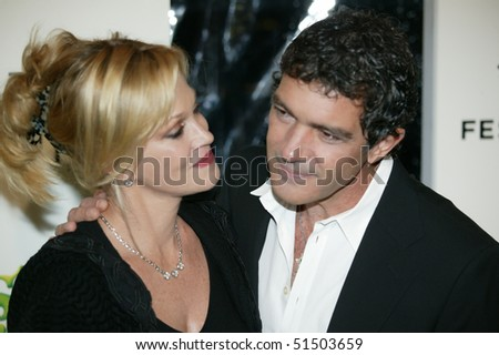 NEW YORK - APRIL 21: Actors Melanie Griffith and Antonio Banderas at Tribeca Shrek Forever After premier at Ziegfeld Theater on April 21, 2010 in New York City. - stock photo