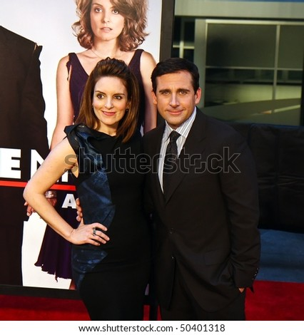 """NEW YORK - APRIL 6: Actress Tina Fey and actor Steve Carrell arrive on the red carpet for the premiere of """"Date Night"""" on April 6, 2010 in New York City."""