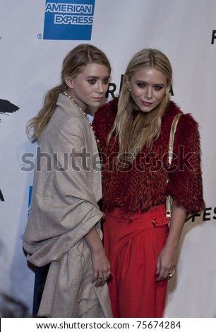 NEW YORK - APRIL 20: Ashley and Mary-Kate (R) Olsen attend the opening night premiere of 'The Union' at the 2011 Tribeca Film Festival at World Financial Center on April 20, 2011 in New York City