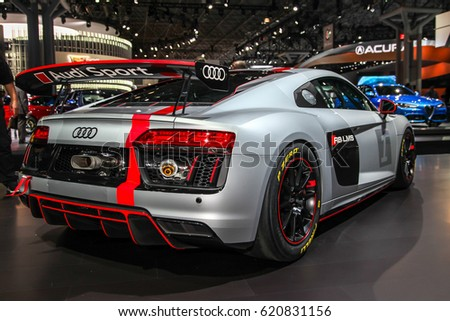 NEW YORKAPRIL Audi R LMS Shown At The New York International - Car show javits center