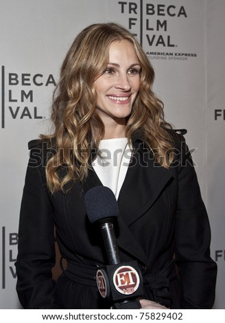NEW YORK - APRIL 23: Julia Roberts gives interview to ET at premiere of 'Jesus Henry Christ' at the 2011 Tribeca Film Festival on April 23, 2011 in New York City