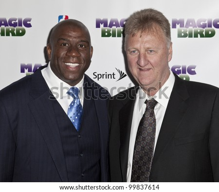 NEW YORK - APRIL 11: Larry Bird and Magic Johnson attend the 'Magic/Bird' Broadway opening night at the Longacre Theatre on April 11, 2012 in New York City.