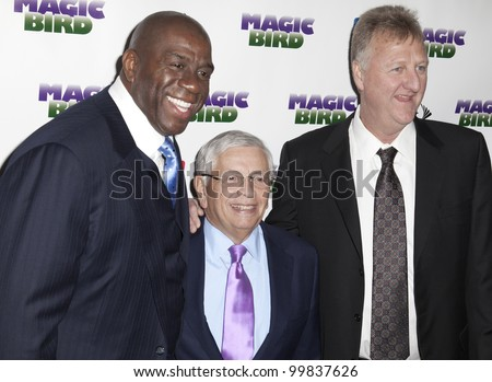 NEW YORK - APRIL 11: Larry Bird, David Stern and Magic Johnson attend the 'Magic/Bird' Broadway opening night at the Longacre Theatre on April 11, 2012 in New York City.