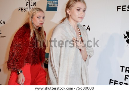 """NEW YORK - APRIL 20: Mary-Kate and Ashley Olsen attend the opening night premiere of """"The Union"""" at the 2011 TriBeCa Film Festival at World Financial Center Plaza on April 20, 2011 in New York City."""