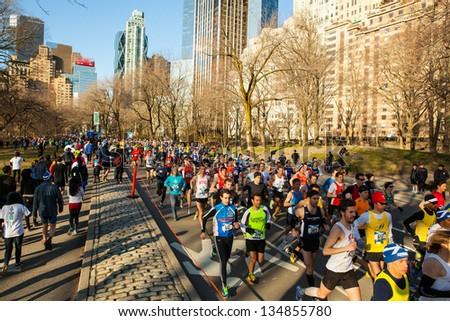 NEW YORK - APRIL 6:  Scenes from 2013 Tartan Weeks Scotland 10k Run in Central Park April 6, 2013 in New York City.