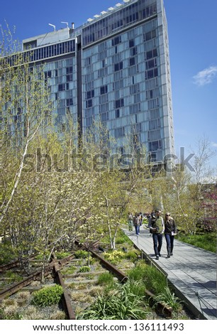 NEW YORK - APRIL 22: Scenic views along the High Line on April 22 2013. The High Line is a popular linear park built on the elevated train tracks above Tenth Ave in New York City.