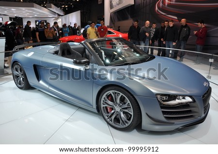 NEW YORK - APRIL 11: The Audi R8 CT Spyder at the 2012 New York International Auto Show running from April 6-15, 2012 in New York, NY. - stock photo