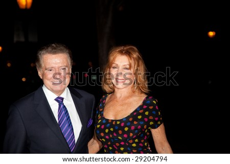 NEW YORK - APRIL 21: TV personality Regis Philbin (L) and Joy Philbin attend the Vanity Fair Party during the 8th Annual Tribeca Film Festival April 21, 2009 in New York.