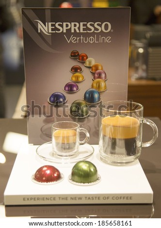 NEW YORK - APRIL1: Variety of coffee capsules in Nespresso store in New York on April 1, 2014. Nespresso is an operating unit of the Nestle Group based in Lausanne, Switzerland