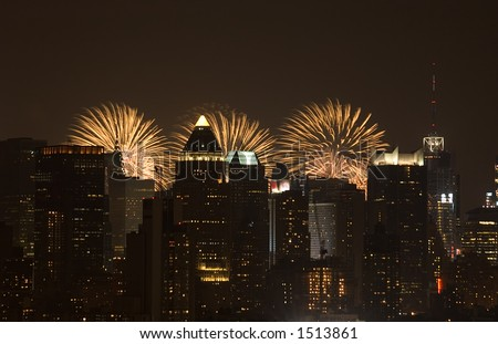 New York at night with 4th of july fireworks on the background