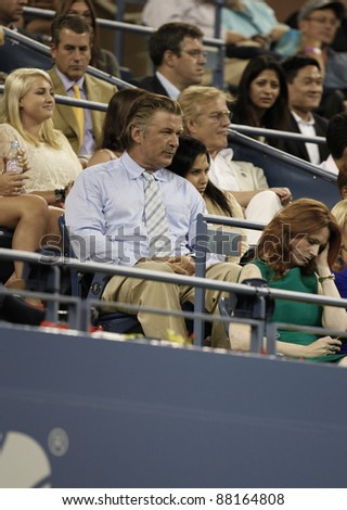 NEW YORK - AUGUST 29: Alec Baldwin and Hilaria Thomas attend 1st round match between Venus Williams & Vesna Dolonts of Russia at USTA Billie Jean King National Tennis Center on August 29, 2011 in NYC