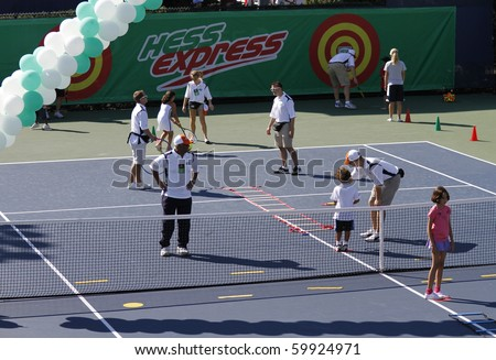 NEW YORK - AUGUST 28: Atmosphere on tennis court at Kids Day at US Open August 28, 2010 in New York City