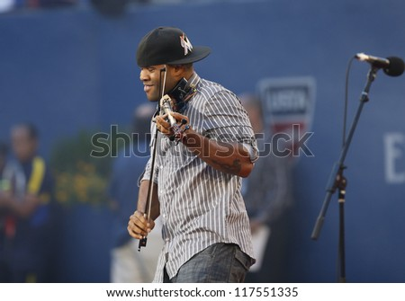 NEW YORK - AUGUST 27: Black Violin band performs at the opening ceremony at US Open tennis tournament on August 27, 2012 in Flushing Meadows New York