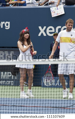 NEW YORK - AUGUST 25: Carly Rae Jepsen and Mardy Fish perform at Kids Day at US Open tennis tournament sponsored by Hess on August 25, 2012 in Queens New York