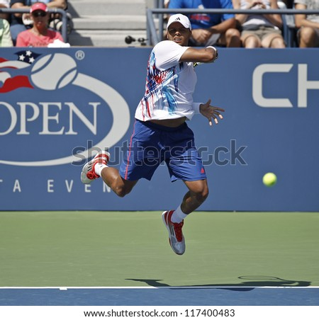 NEW YORK - AUGUST 28: Jo-Wilfried Tsonga of France returns ball during 1st round match against Karol Beck of Slovakia at US Open tennis tournament on August 28, 2012 in Flushing Meadows New York