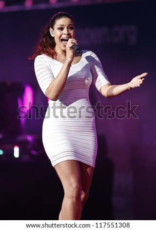 NEW YORK - AUGUST 27: Jordin Sparks performs at the opening ceremony at US Open tennis tournament on August 27, 2012 in Flushing Meadows New York