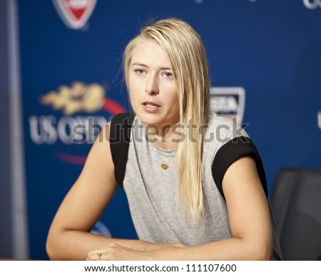 NEW YORK - AUGUST 25: Maria Sharapova attends press conference at Arthur Ash stadium on August 25, 2012 in Queens New York