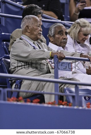 NEW YORK - AUGUST 31: Mayor David Dinkins, Representative Charles Rangel attend match  between Rafael Nadal of Spain and Teymuraz Gabashvili of Russia at US Open tennis tournament on Aug 31, 2010 NYC