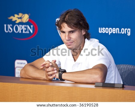 NEW YORK - AUGUST 30: Rafael Nadal of Spain, a 4 times French Open champion, attends press conference at US Open on August 30, 2009 in New York NY.