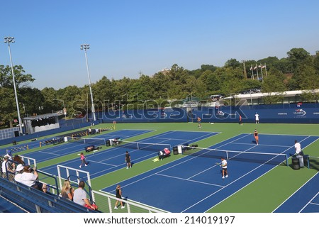 NEW YORK- AUGUST 25: Renovated practice courts at the Billie Jean King National Tennis Center ready for US Open tournament on August 25, 2014 in New York