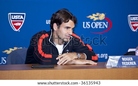 NEW YORK - AUGUST 29: Roger Federer 5 times champion attends press conference at US Open on August 29 2009 in New York