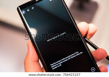 NEW YORK, AUGUST 2017 - Samsung Galaxy Note 8 smartphone is displayed for editorial purposes
