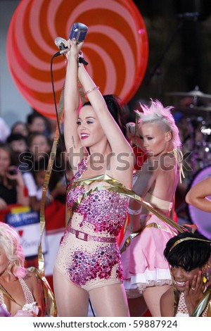"""NEW YORK - AUGUST 27: Singer Katy Perry performs on NBC's """"Today Show"""" at Rockefeller Plaza on August 27, 2010 in New York City."""