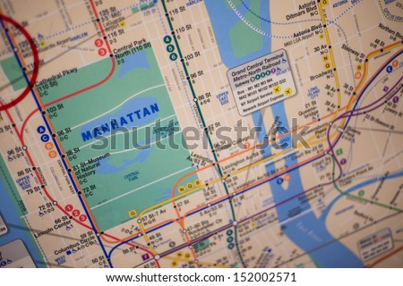NEW YORK - AUGUST 29: subway map on August 29, 2013 in New York. The New York City Subway is a rapid transit system owned by the City of New York and leased to the New York City Transit Authority.
