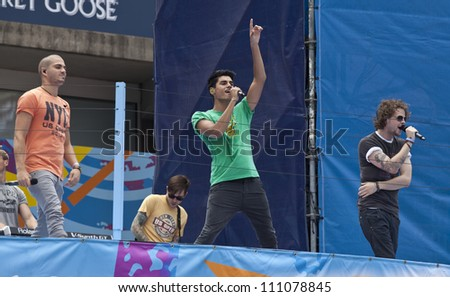 NEW YORK - AUGUST 25: The Wanted performs at Kids Day at US Open tennis tournament sponsored by Hess on August 25, 2012 in Queens New York