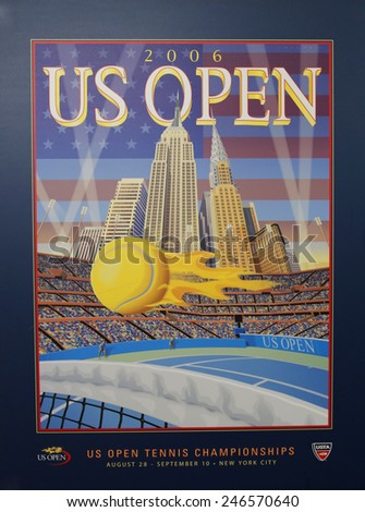 NEW YORK - AUGUST 18, 2014: US Open 2006 poster on display at the Billie Jean King National Tennis Center in New York