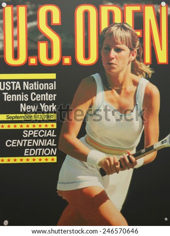 NEW YORK - AUGUST 19, 2014: US Open 1981 poster on display at the Billie Jean King National Tennis Center in New York