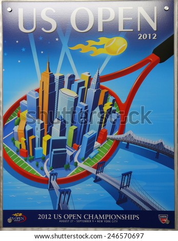 NEW YORK - AUGUST 19, 2014: US Open 2012 poster on display at the Billie Jean King National Tennis Center in New York