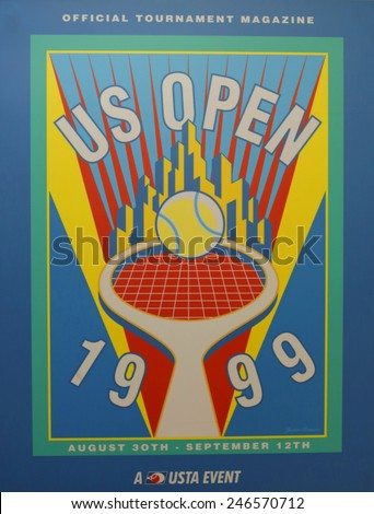 NEW YORK - AUGUST 18, 2014: US Open 1999 poster on display at the Billie Jean King National Tennis Center in New York