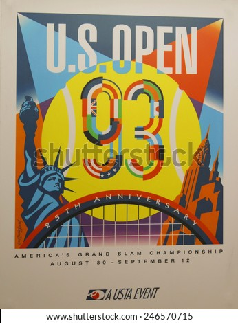 NEW YORK - AUGUST 18, 2014: US Open 1993 poster on display at the Billie Jean King National Tennis Center in New York