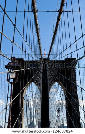New York Brooklyn Bridge Cables - stock photo