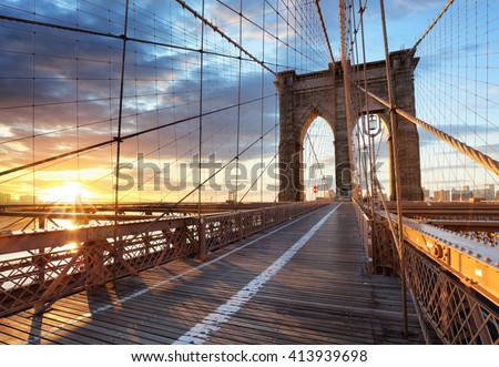 New York, Brooklyn bridge, Lower Manhattan, USA #413939698
