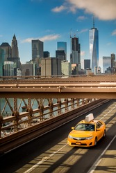 New York Cab Taxi Brooklyn Bridge