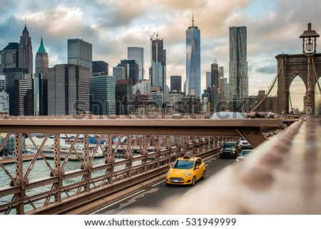 Stock Photo New York Cab Taxi Brooklyn Bridge