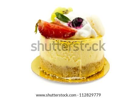 New York cheesecake  on white background