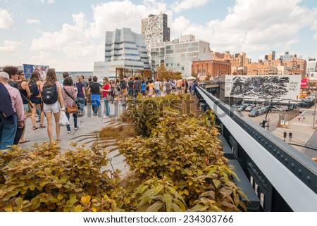 NEW YORK - CIRCA MAY 2013: The High Line Park, New York, circa May 2013. The High Line is a popular linear park built on the elevated train tracks above Tenth Ave in New York City