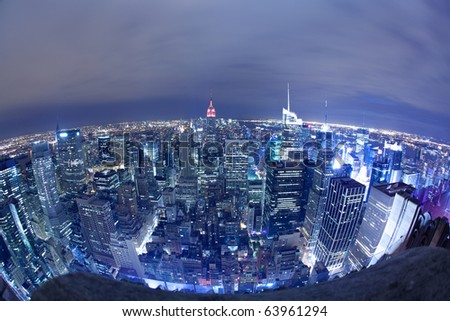 New York City aerial view at night
