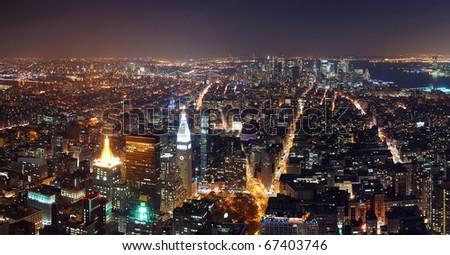 New York City aerial view panorama with Manhattan skyline at night. - stock photo