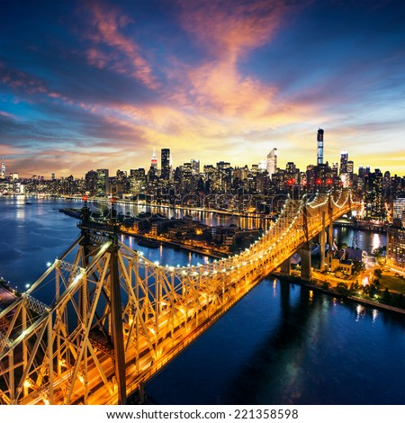 "stock photo new york city amazing sunset over manhattan with queensboro bridge 221358598 - Каталог - Фотообои ""Города"""