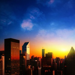 New York City and colorful sunrise.